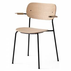 Co Dining Chair Wood Seat, Arm Rest - Natural Oak, Black Base