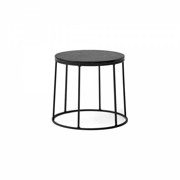 Wire Small Side Table - Black Marble, Black Base