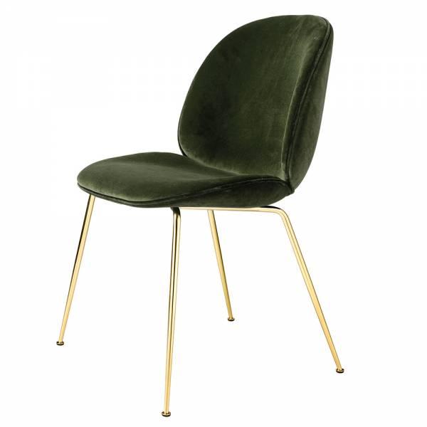 Beetle Fully Upholstered Dining Chair - Moss Dandy Velvet, Brass Base | Rouse Home