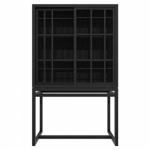 Burung 2 Doors Storage Cupboard - Black