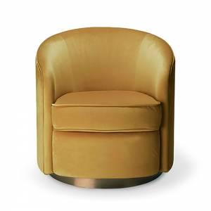 Swivel 1 Seater Sofa - Gold Velvet