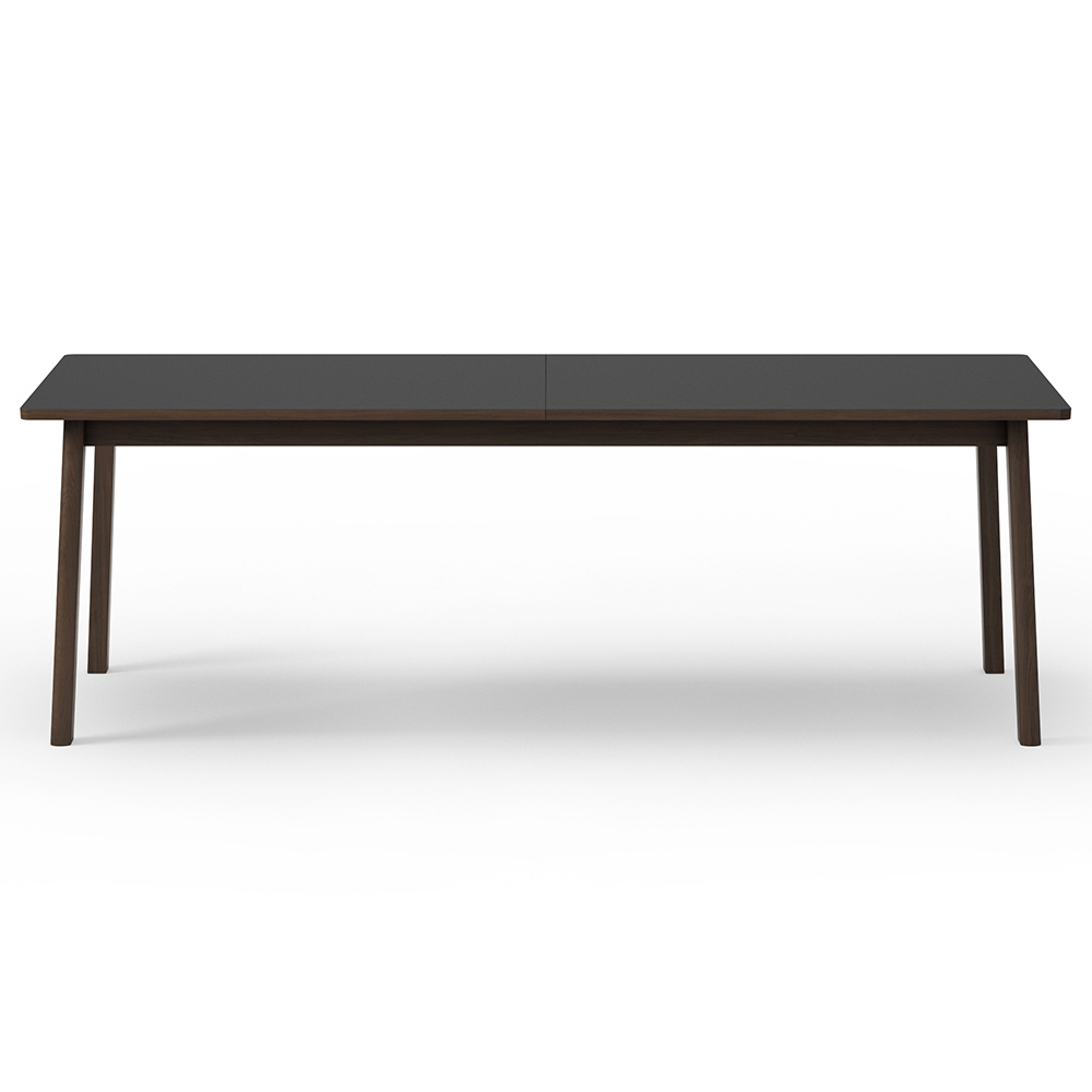 Ana Extendable Dining Table Black Laminate Top Smoked Oak