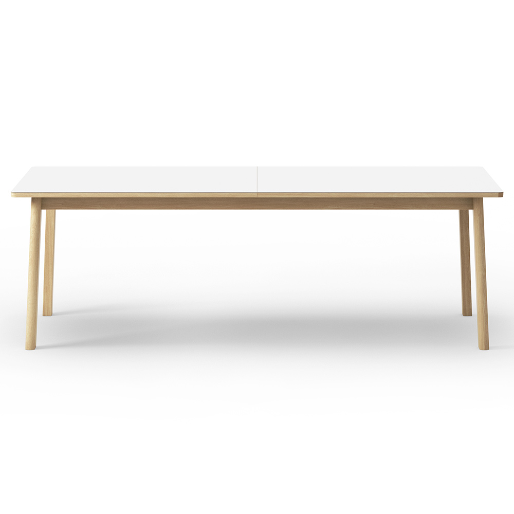 Ana Extendable Dining Table White Laminate Top Oak
