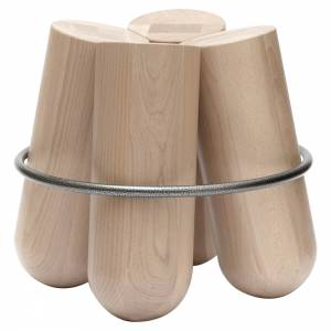 Bolt Stool - Natural Polished Maple, Chrome Ring