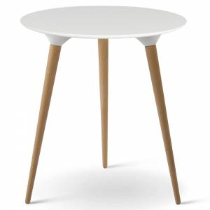 Icicle Round Side Table - White Laminate