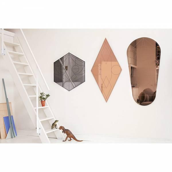 Mask Rhombus Wall Mirror - Coral