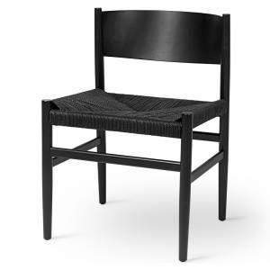 Nestor Dining Chair - Black Paper Cord Seat, Black Beech