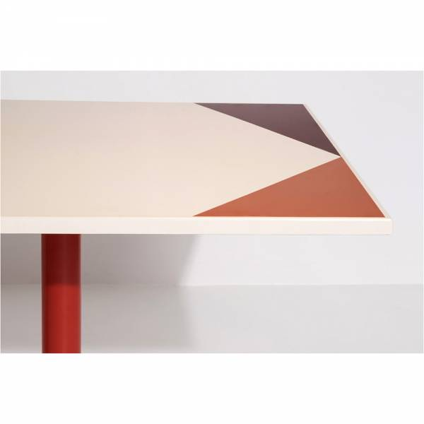 Parot Rectangular Table - Cream, Pink Pattern
