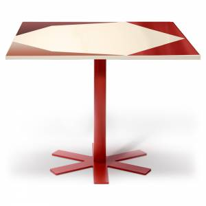 Parot Square Table - Cream, Pink Pattern