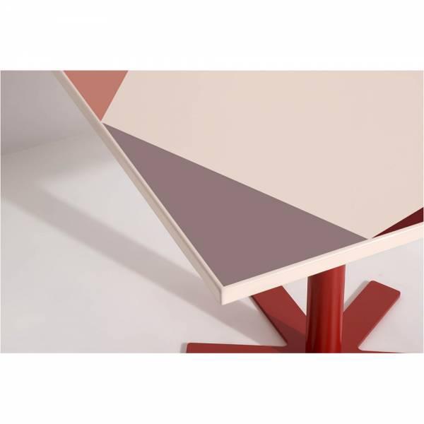 Parot Square Table - Cream, Pink Pattern