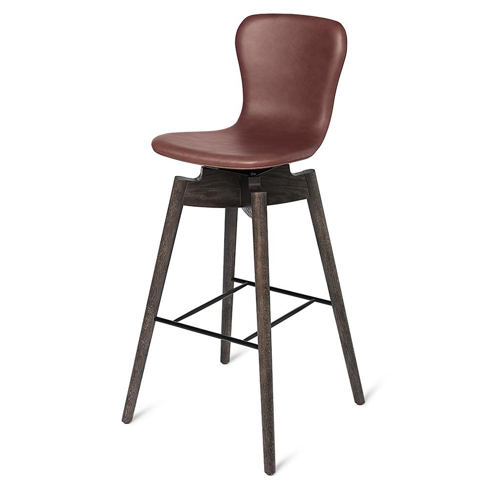 Sensational Shell Counter Stool Cognac Leather Brown Machost Co Dining Chair Design Ideas Machostcouk