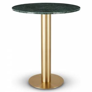 Tube Bar Table - Green Marble Top, Brass Base