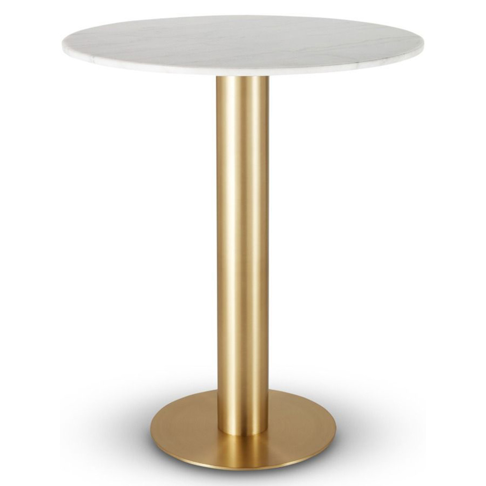 Marble Top Brass Coffee Table.Tube Bar Table White Marble Top Brass Base