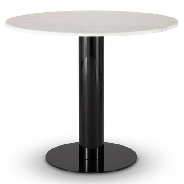 Tube Dining Table - White Marble Top, Black Base | Rouse Home