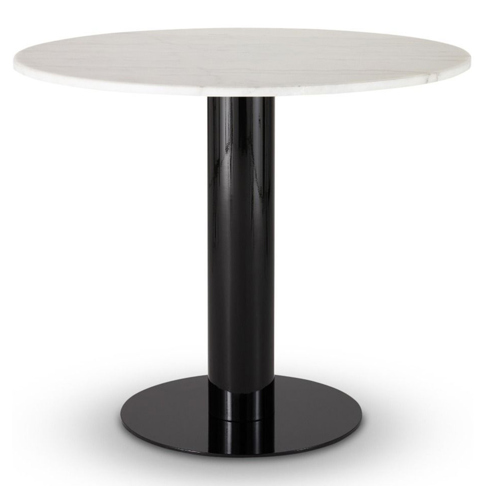 Tube Dining Table White Marble Top Black Base Rouse Home