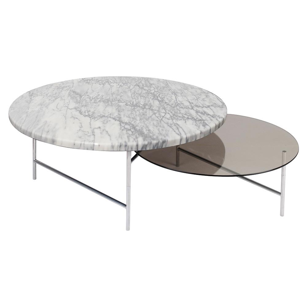 Zoro Coffee Table White Marble Smoked Gl Top
