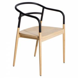 Dojo Armchair - Natural Beech, Black Steel