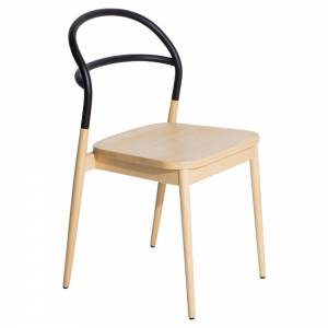 Dojo Dining Chair - Natural Beech, Black Steel