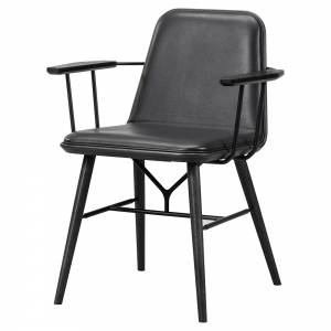 Spine Armchair - Leather, Black Lacquered Ash