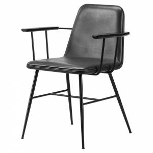 Spine Armchair - Leather, Black Metal