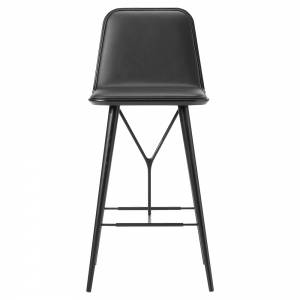 Spine Bar Chair - Leather, Black Lacquered Ash