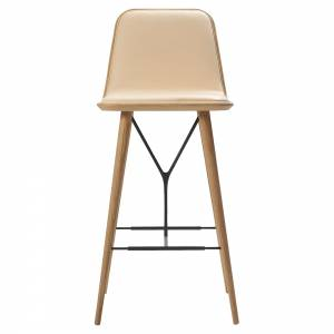 Spine Bar Chair - Leather, Lacquered Oak
