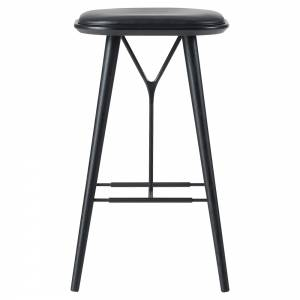 Spine Bar Stool - Leather, Black Lacquered Ash