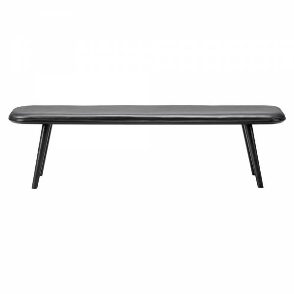 Spine Bench - Black Leather, Black Lacquered Ash