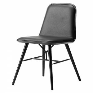 Spine Dining Chair - Leather, Black Lacquered Ash