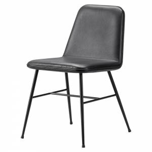 Spine Dining Chair - Leather, Black Metal