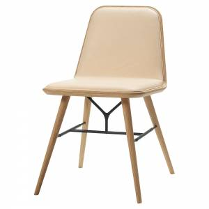 Spine Dining Chair - Leather, Lacquered Oak