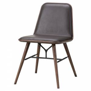 Spine Dining Chair - Leather, Smoked Oak