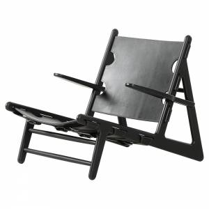 The Hunting Lounge Chair - Black Leather