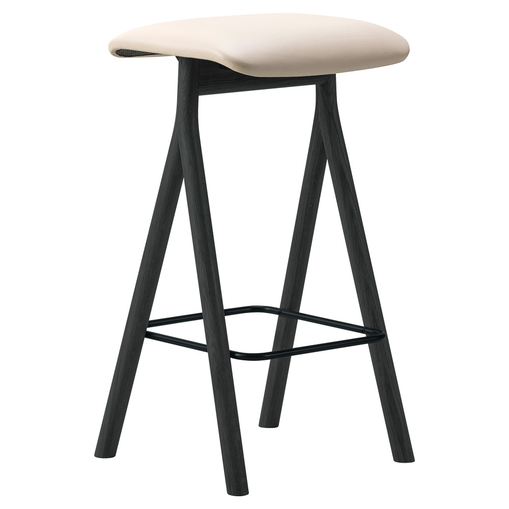 Yksi Bar Stool Leather Seat Black Lacquered Oak