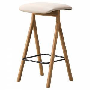 Yksi Bar Stool - Leather Seat, Oiled Oak