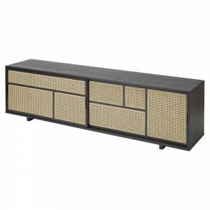 Air Low Media Cabinet - Black, Cane