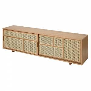 Air Low Media Cabinet - Oak, Cane