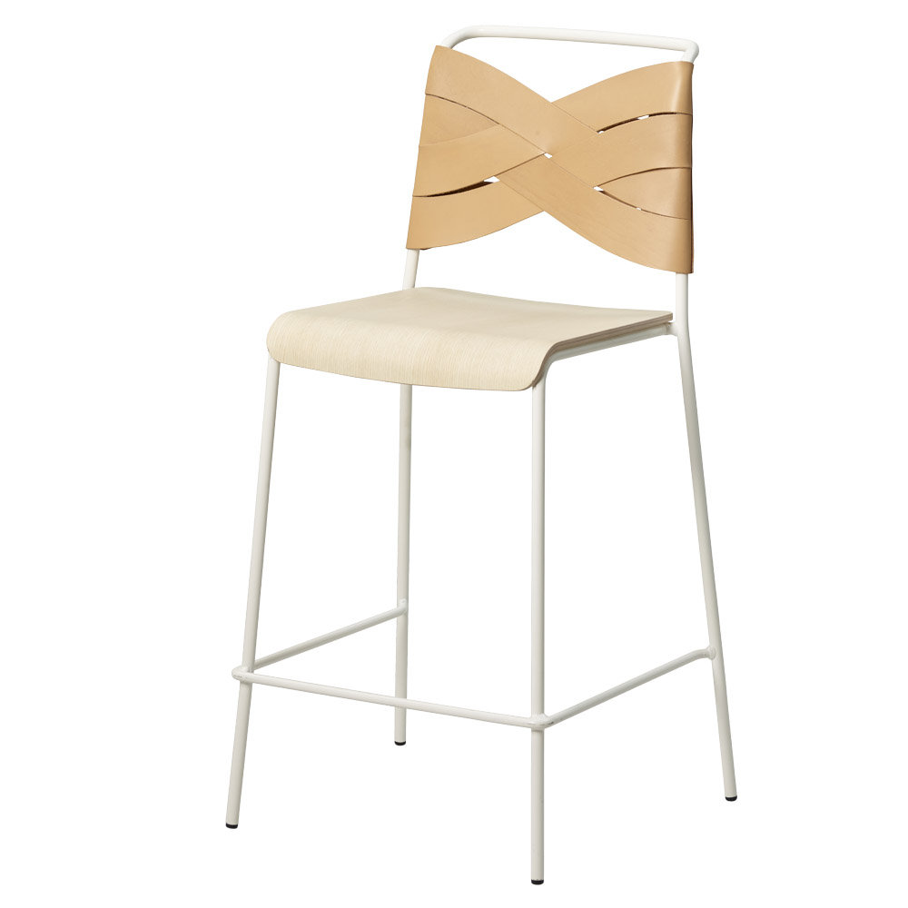 Astonishing Torso Counter Stool Ash Wood Seat Natural Leather Backrest White Steel Base Uwap Interior Chair Design Uwaporg