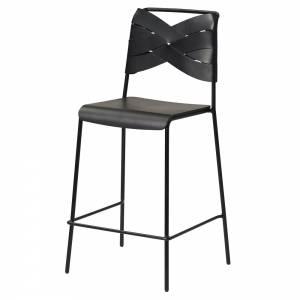 Torso Bar Stool - Black Wood Seat, Black Leather Backrest, Black Steel Base