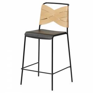 Torso Bar Stool - Black Wood Seat, Natural Leather Backrest, Black Steel Base