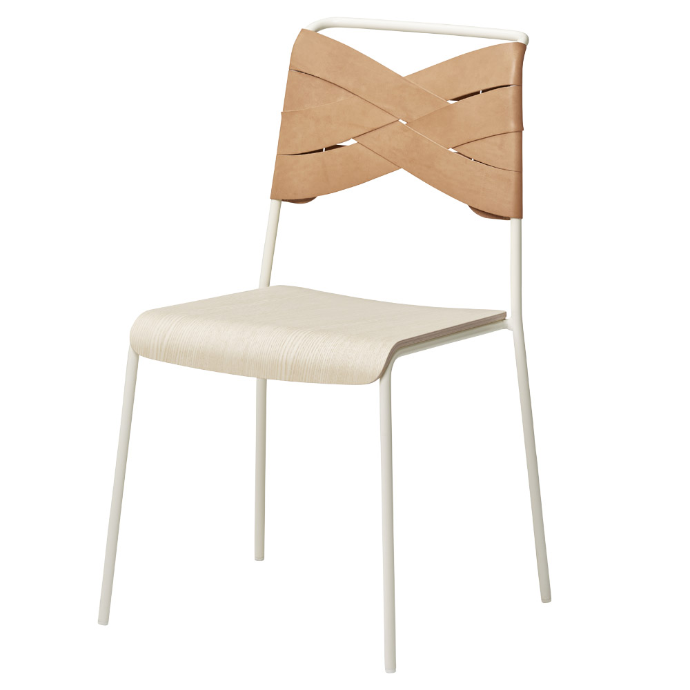 Stupendous Torso Chair Ash Wood Seat Natural Leather Backrest White Steel Base Dailytribune Chair Design For Home Dailytribuneorg