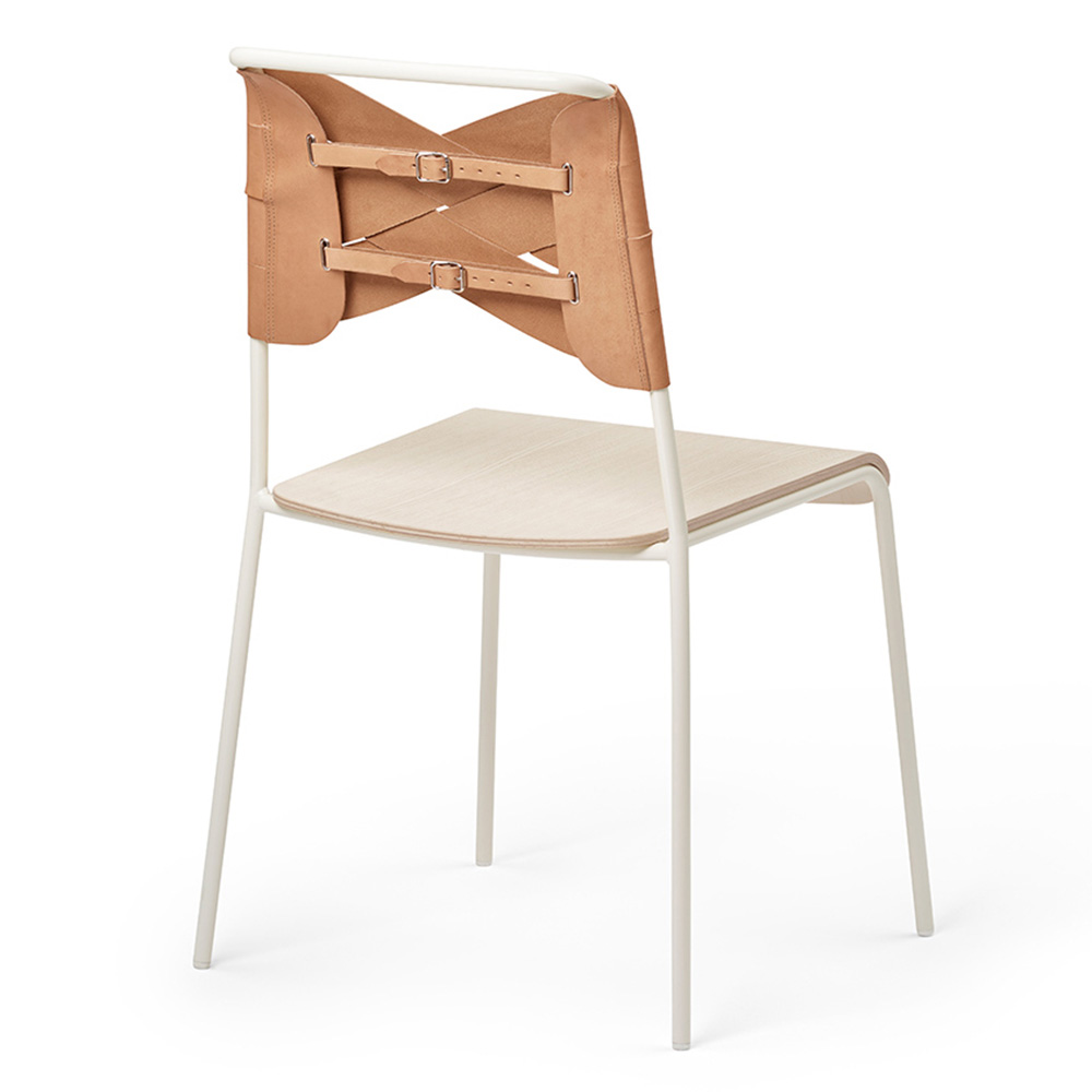 Ari Leather Dining Chair Ash: Ash Wood Seat, Natural Leather Backrest