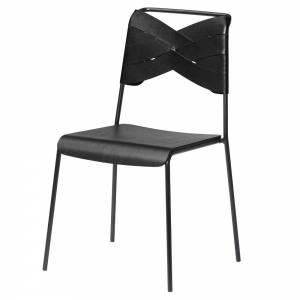 Torso Chair - Black Wood Seat, Black Leather Backrest, Black Steel Base