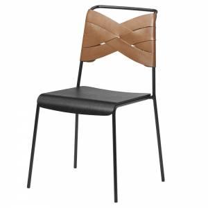 Torso Chair - Black Wood Seat, Cognac Leather Backrest, Black Steel Base
