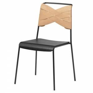 Torso Chair - Black Wood Seat, Natural Leather Backrest, Black Steel Base