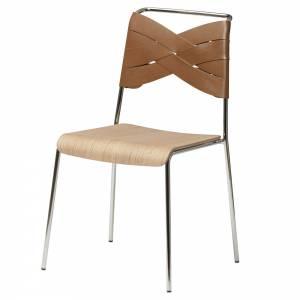 Torso Chair - Oak Wood Seat, Cognac Leather Backrest, Chrome Base