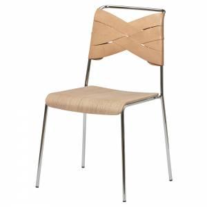 Torso Chair - Oak Wood Seat, Natural Leather Backrest, Chrome Base