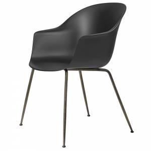 Bat Unupholstered Dining Chair - Black, Antique Brass Base