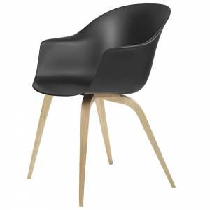 Bat Unupholstered Dining Chair - Black, Oak Base