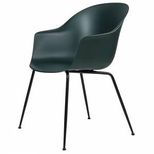 Bat Unupholstered Dining Chair - Dark Green, Black Base